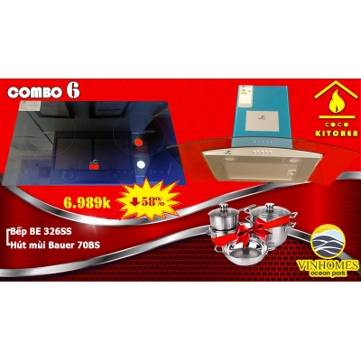 COMBO BẾP TỪ BAUER BE-326SS+HÚT MÙI BAUER 70BS