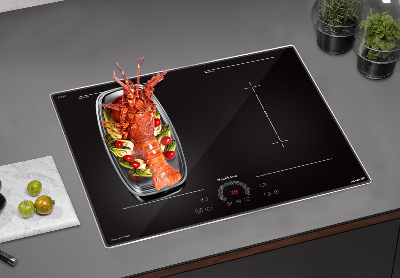 bếp từ NAG1210MF4 có 4 cùng nấu và có thể kết hợp vùng nấu