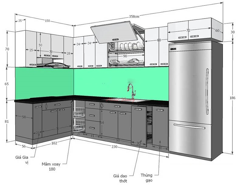 kích thước lặt đặt phụ kiện tủ bếp